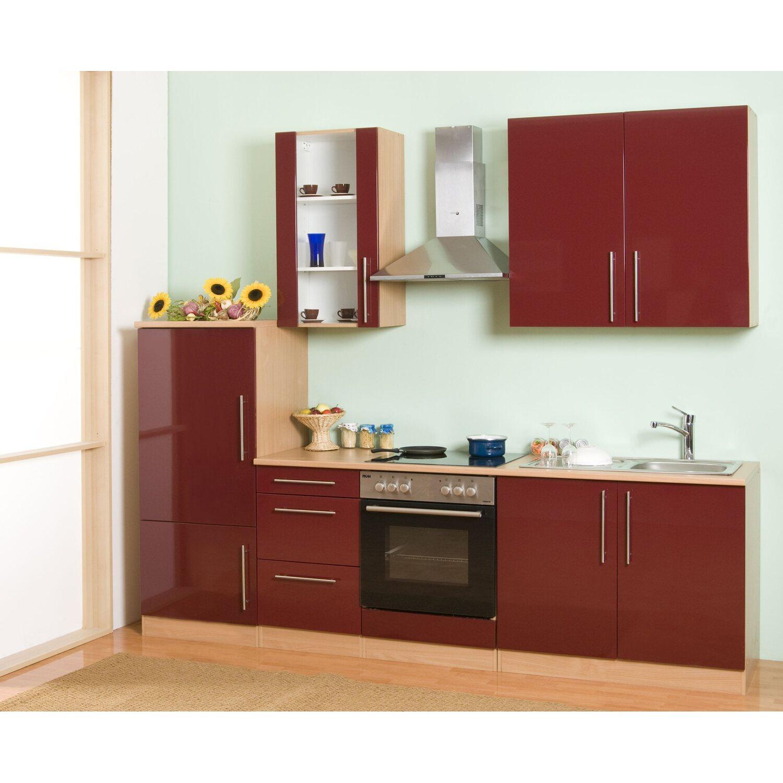 mebasa k chenzeile cucina 270 cm komplett mit ger ten rot kaufen bei obi. Black Bedroom Furniture Sets. Home Design Ideas