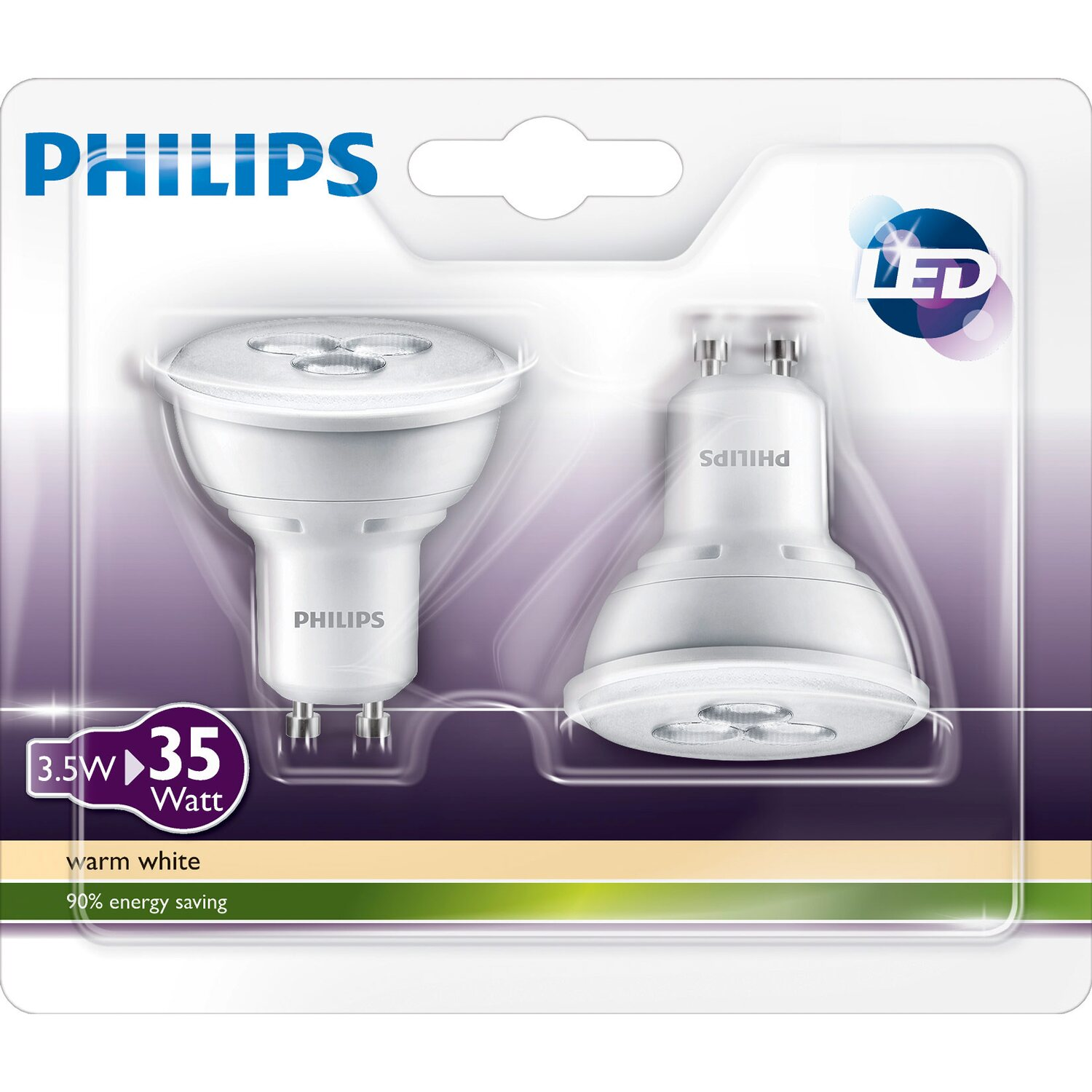 Philips LED-Lampe Reflektor GU10 /4 W (240 lm) Warmweiß 2er-Pack EEK ...