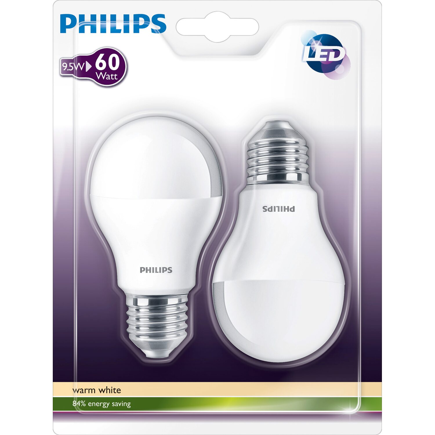 Philips led lampe glhlampenform e27 95 w 806 lm warmwei 2er philips led lampe glhlampenform parisarafo Choice Image