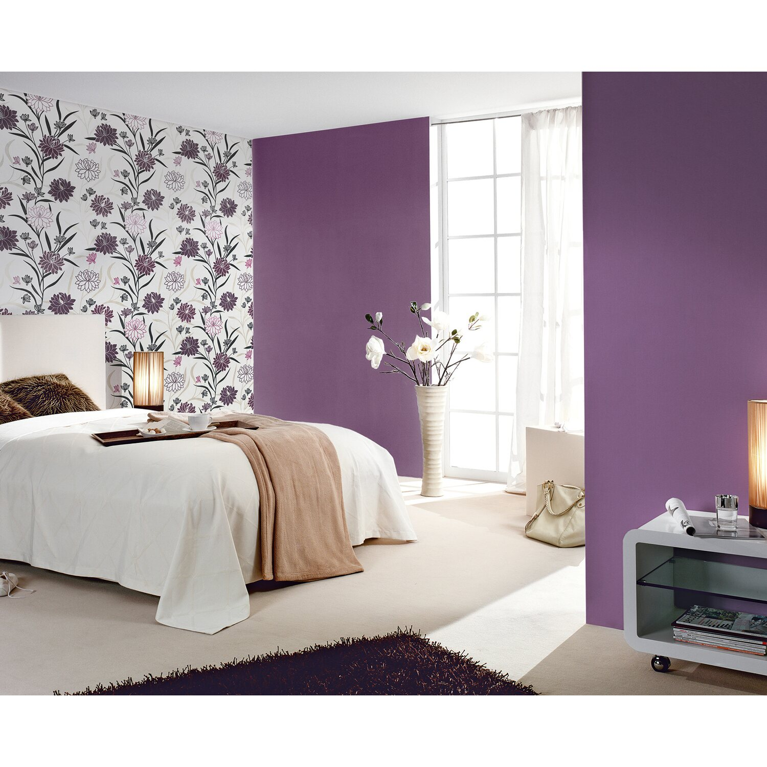 a s creation vliestapete blumen wei violett kaufen bei obi. Black Bedroom Furniture Sets. Home Design Ideas