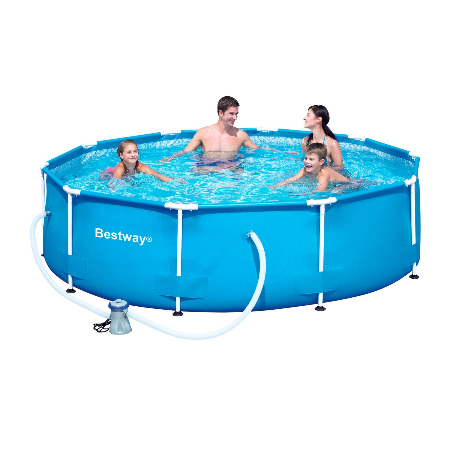 Bestway stahlrahmen swimming pool set 305 cm x 76 cm for Pool staubsauger obi