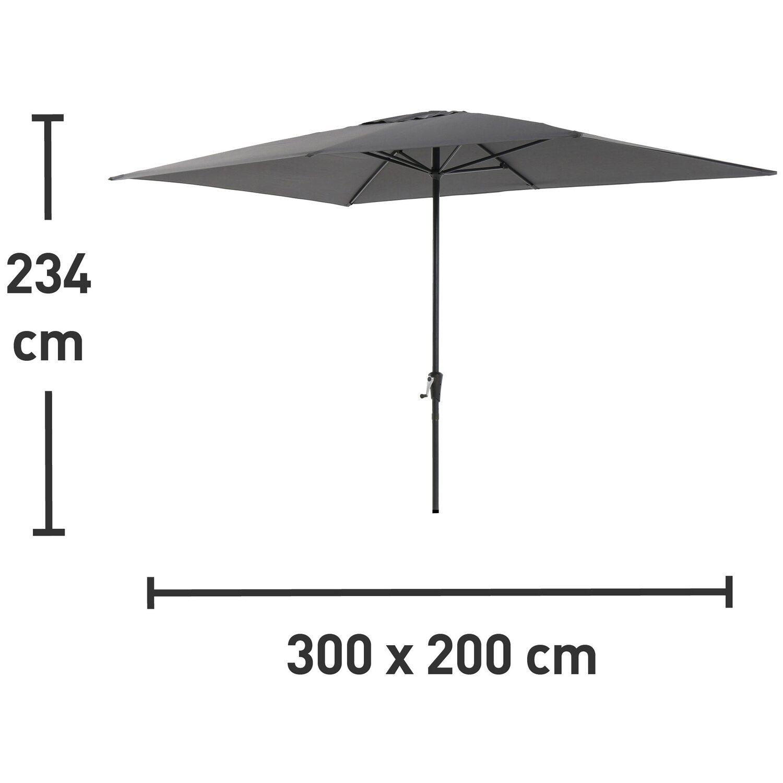 Obi Sonnenschirm Honolulu Eckig Anthrazit 300 Cm X 200 Cm
