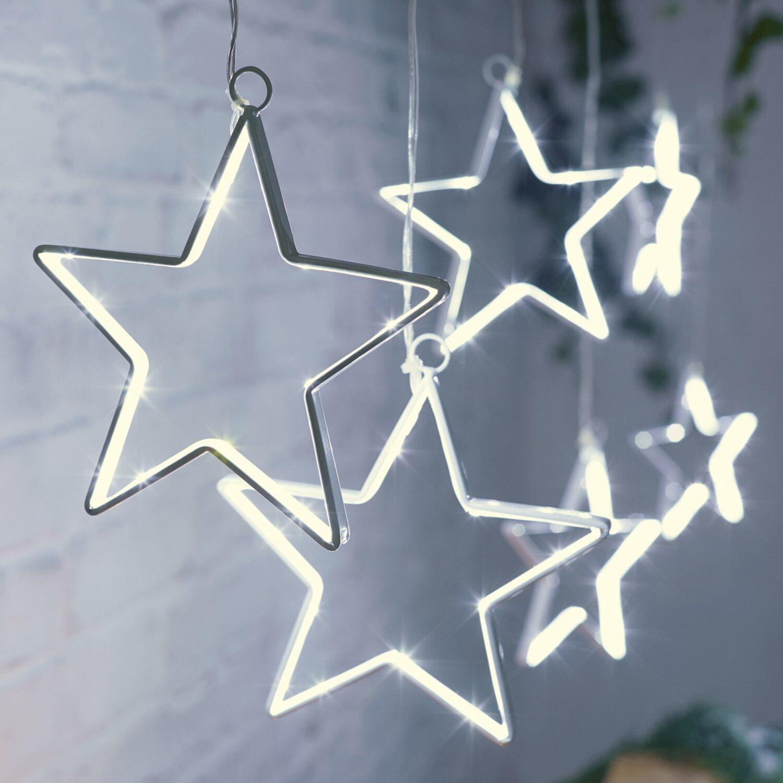 Weihnachtsbeleuchtung Außen Zug.Led Lichterkette Sterne 90 Kaltweiße Leds Innen Und Außen