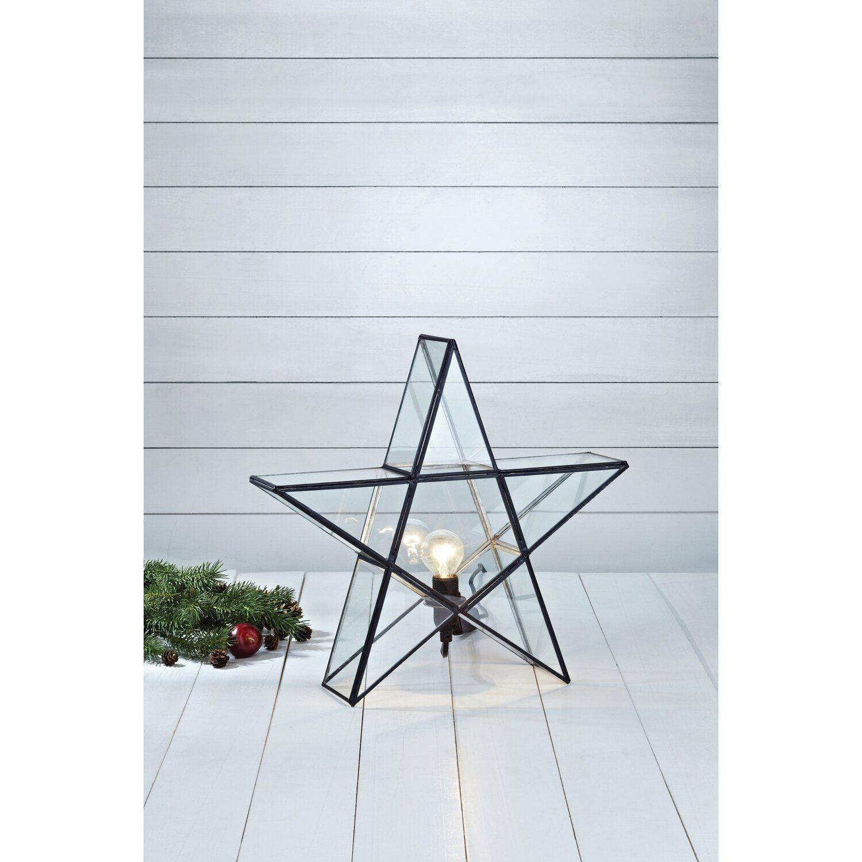 Deko Leuchte Stern Sigismund Glas Schwarz 38 cm kaufen bei OBI