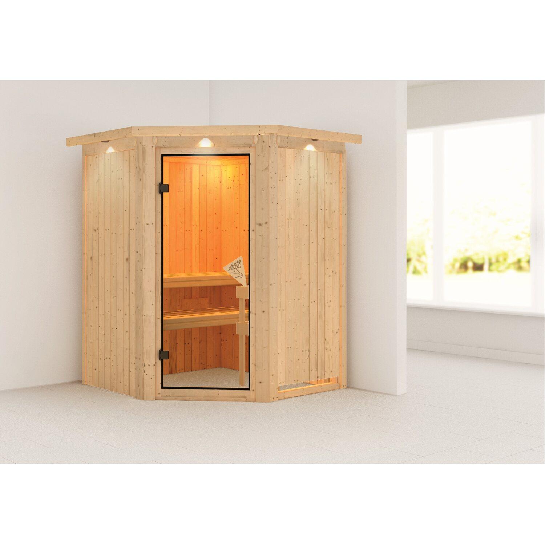 karibu sauna nanja 68 mm mit eckeinstieg inkl ganzglast r und dachkranz kaufen bei obi. Black Bedroom Furniture Sets. Home Design Ideas