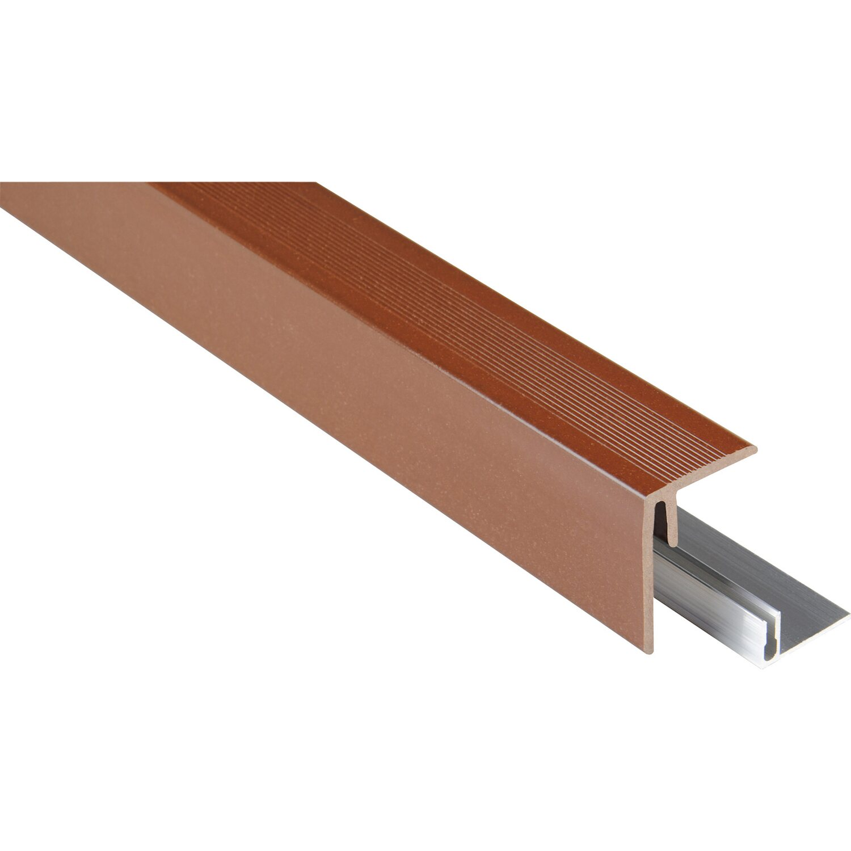 Kovalex Seitenabschluss inkl. Alu-Befestigung Braun 48 x 64 x 2500 mm