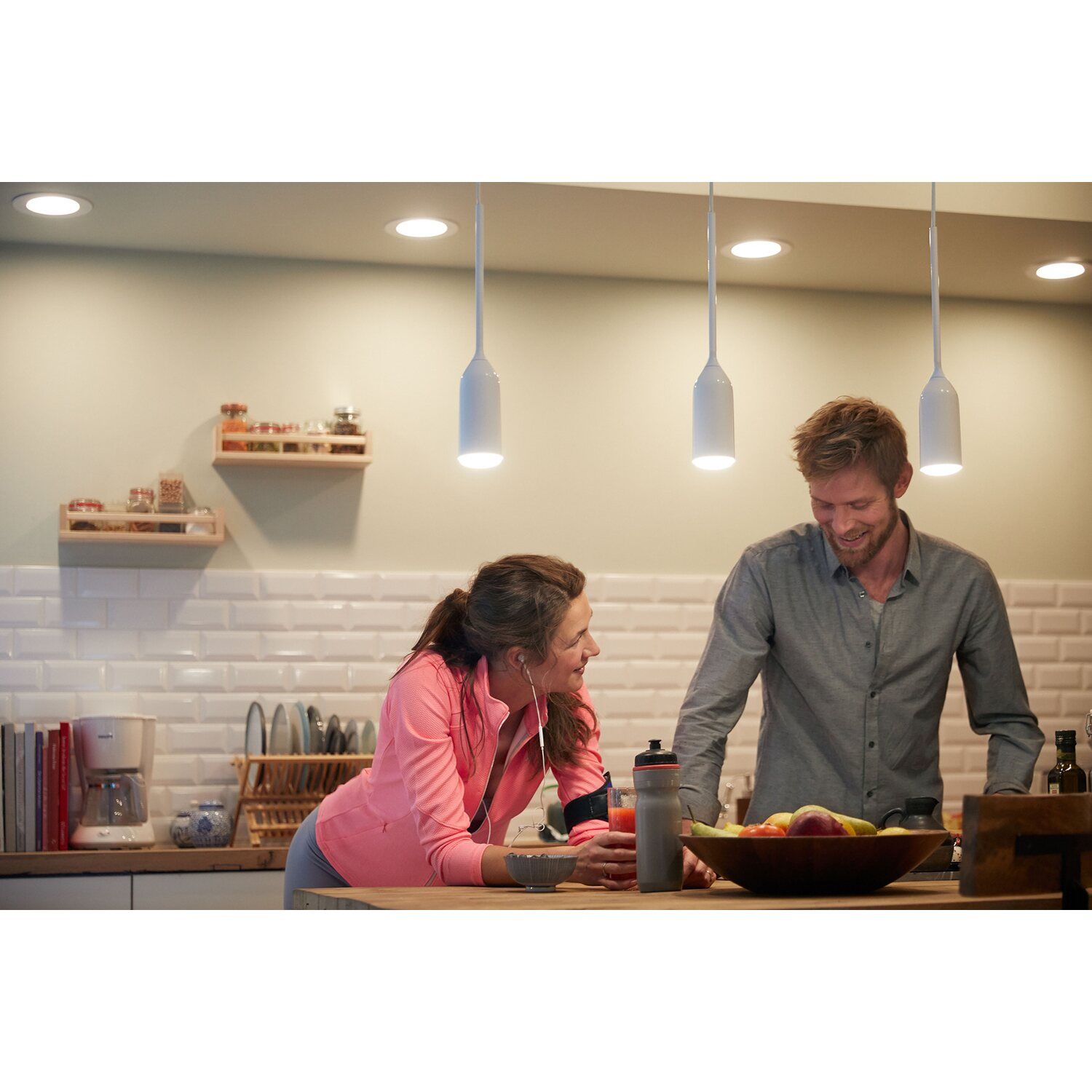 Philips Hue LED Pendelleuchte Devote White Ambiance inkl. Dimmer Weiß EEK: A+