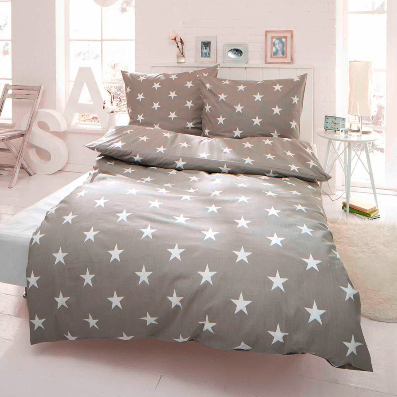 Best Of Home Bettwäsche Sterne 155 Cm X 220 Cm Hellgrau Kaufen Bei Obi