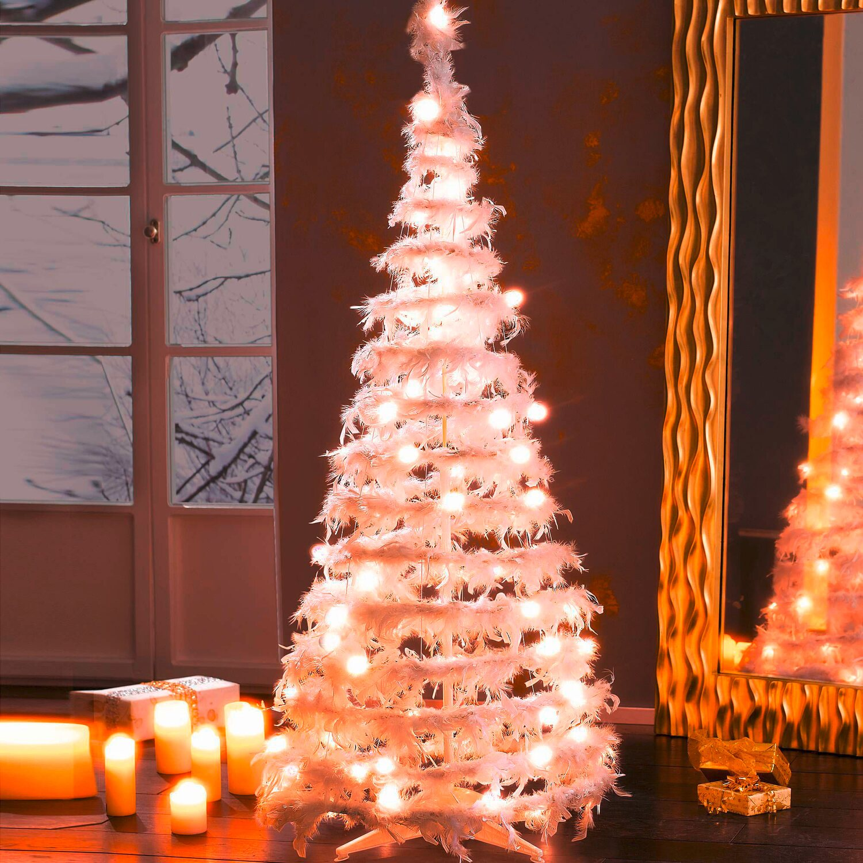 Künstlicher Weihnachtsbaum Mit Beleuchtung Kaufen.Künstlicher Weihnachtsbaum Und Federn Weiß 160 Cm Mit Led Beleuchtung