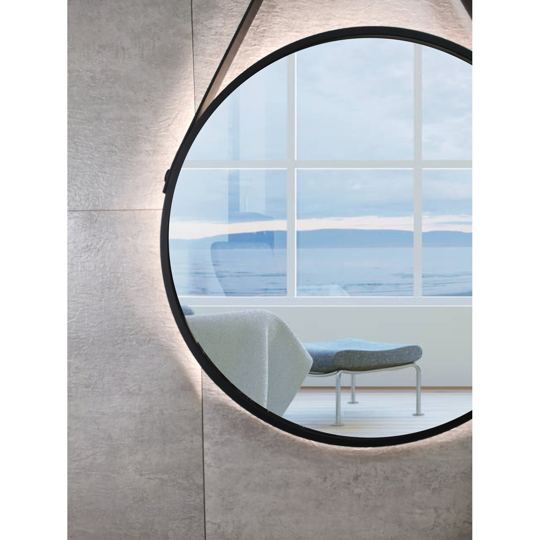 Dsk Design Led Lichtspiegel Rund Silver Barbier O 50 Cm Schwarz