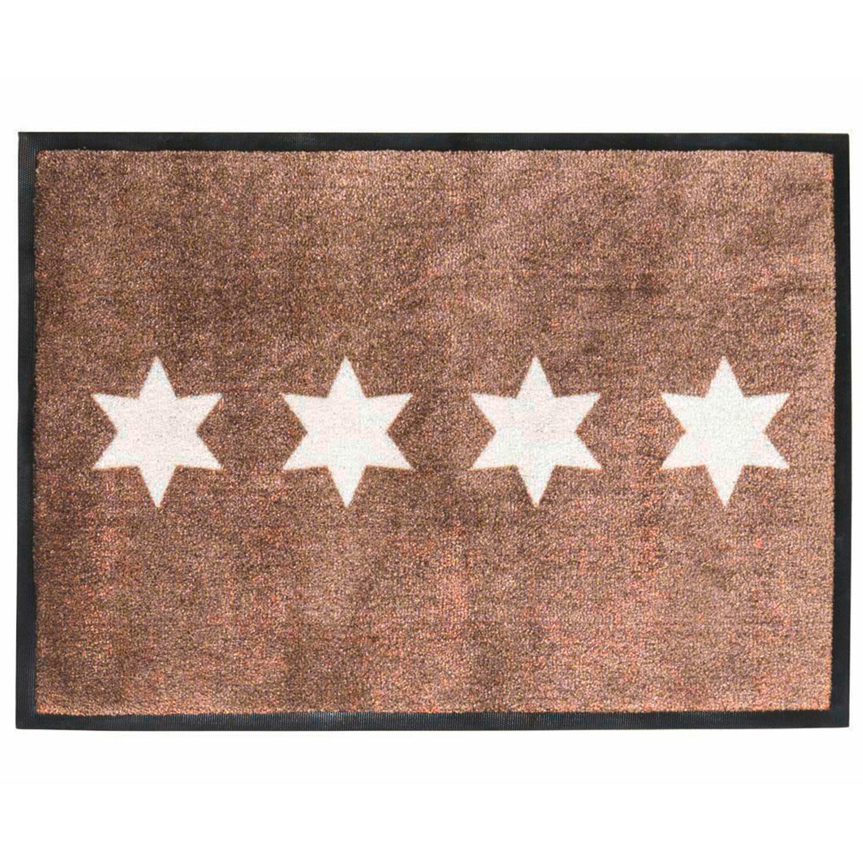 best of home Best of home Fußmatte Stars 50 cm x 70 cm Taupe-Weiß