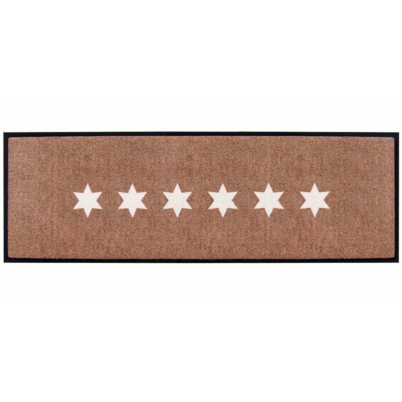 best of home Best of home Fußmatte Stars 60 cm x 180 cm Taupe-Weiß