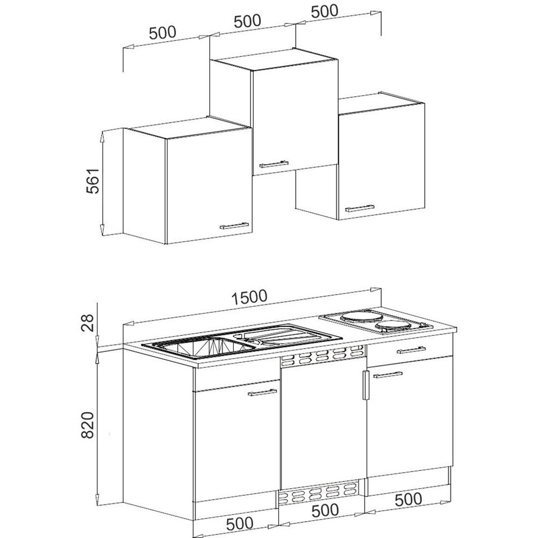 kompakte singlekuche design, respekta küchenzeile kb150eywmic 150 cm weiß-eiche york nachbildung, Design ideen