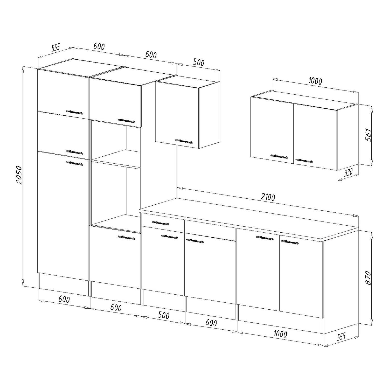 respekta k chenzeile ohne e ger te 330 cm schwarz seidengl eiche york kaufen bei obi. Black Bedroom Furniture Sets. Home Design Ideas
