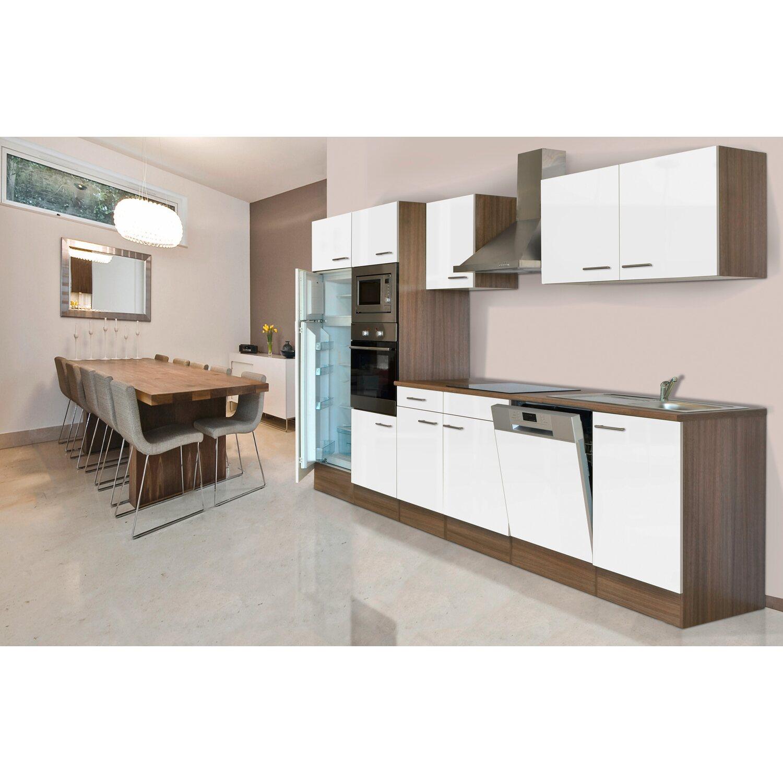 Küchenzeile Weiß respekta küchenzeile kb340eywmigke 340 cm weiß seidengl eiche york