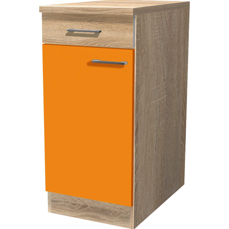 Flex Well Classic Flex-Well Classic Unterschrank Flexia 40 cm Orange/Weiß-Sonoma Eiche