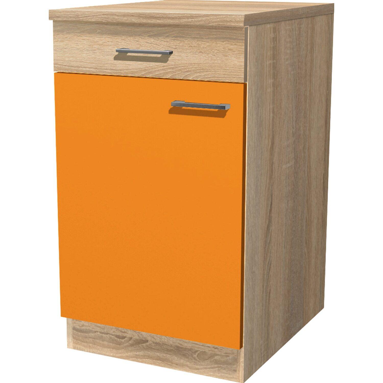 Flex Well Classic Flex-Well Classic Unterschrank Flexia 50 cm Orange/Weiß-Sonoma Eiche