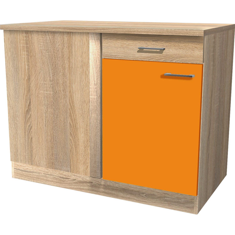 Flex Well Classic Flex-Well Classic Eck-Unterschrank Flexia 110 x 60 cm Orange/Weiß-Sonoma Eiche