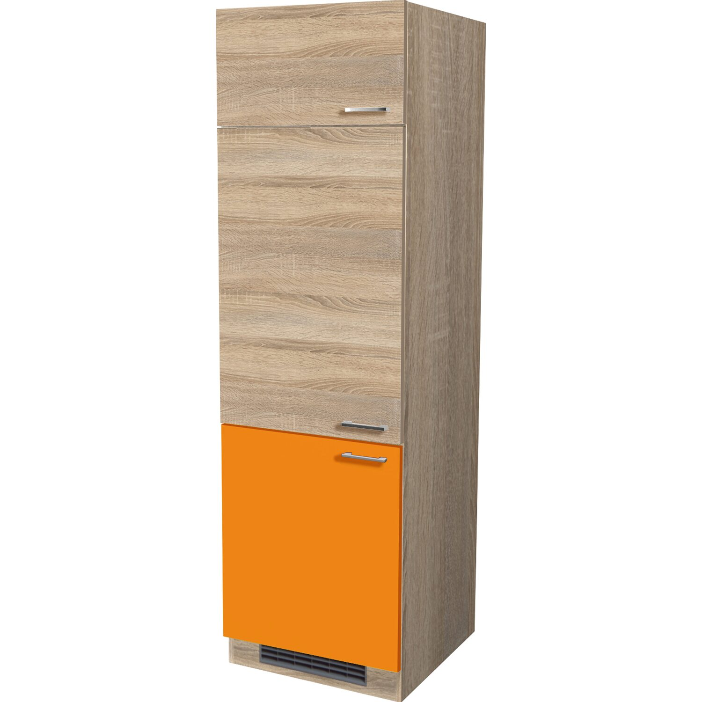Flex Well Classic Flex-Well Classic Geräteumbaushrank Flexia 60 cm Orange/Weiß-Sonoma Eiche