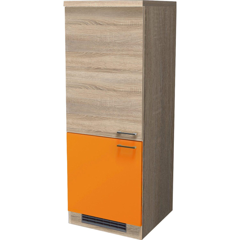 Flex Well Classic Flex-Well Classic Demi-Geräteumbauschrank Flexia 60 cm Orange/Weiß-Sonoma Eiche