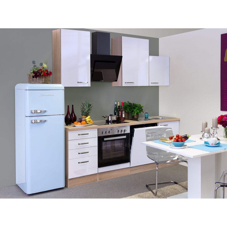 Küchenzeile Weiß flex well exclusiv küchenzeile valero 220 cm hochglanz weiß sonoma