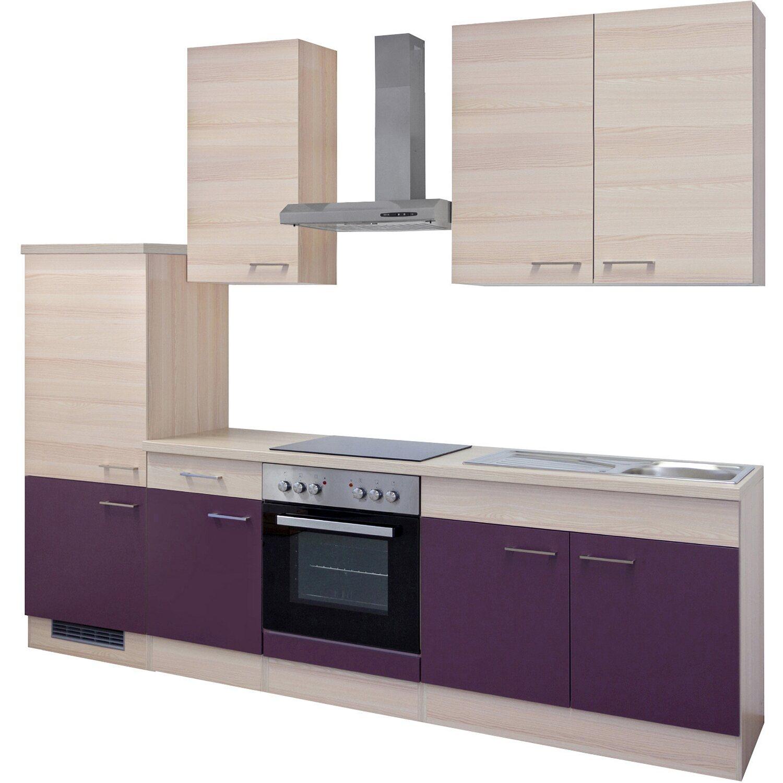 Flex-Well Exclusiv Küchenzeile Focus 270 cm Akazie-Aubergine kaufen ...