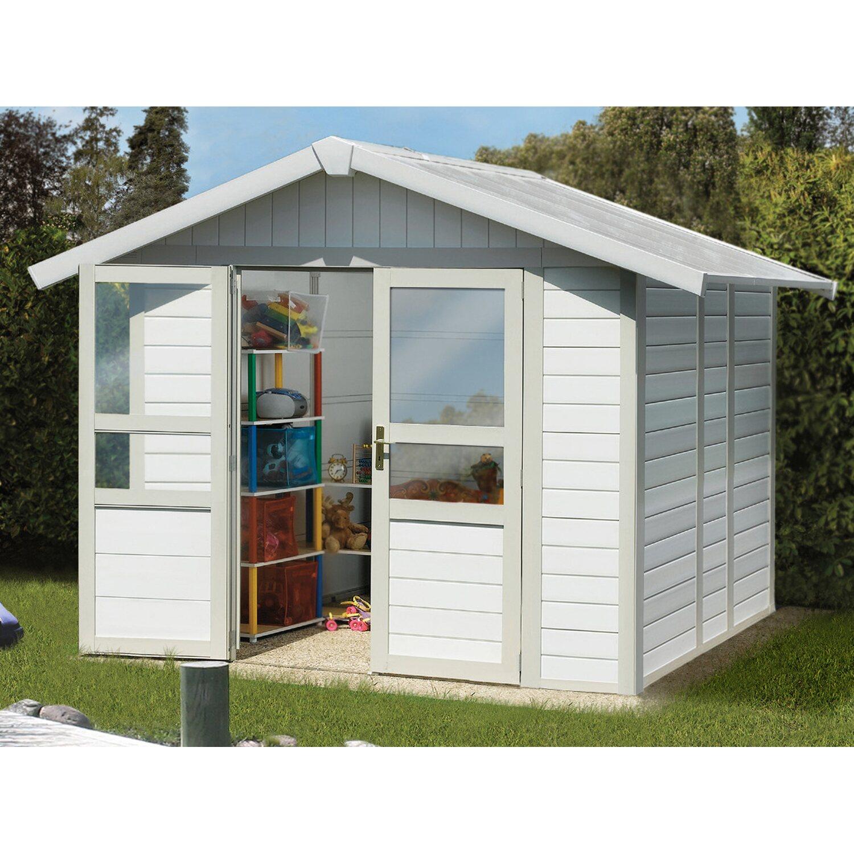 Grosfillex Kunststoff-Gartenhaus Deco Basic Home Weiß-Hellgrau 242 cm x 202 cm