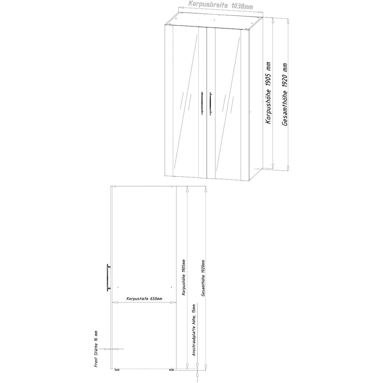 Respekta Schrankküche SKWGC reversibel Grau-Weiß kaufen bei OBI