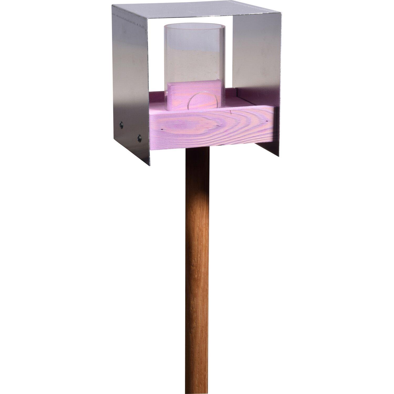 dobar futterhaus mit aluminiumdach violett mit eichenholz st nder kaufen bei obi. Black Bedroom Furniture Sets. Home Design Ideas