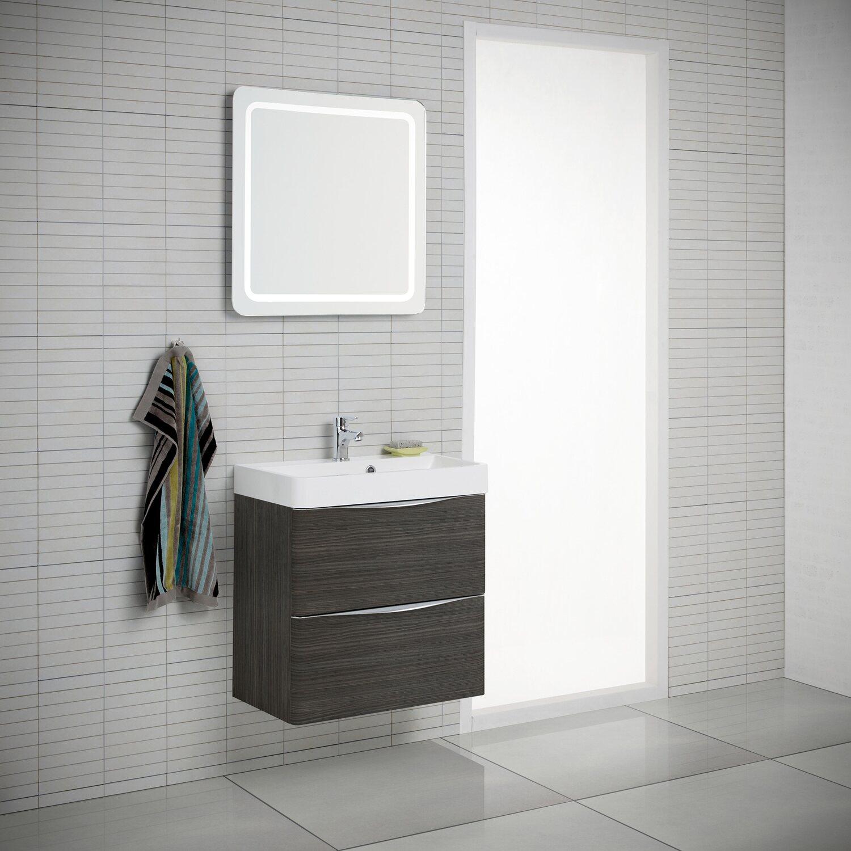 Scanbad Badmöbel-Set 60 cm mit Spiegelpaneel Samba Hacienda Braun 3 ...