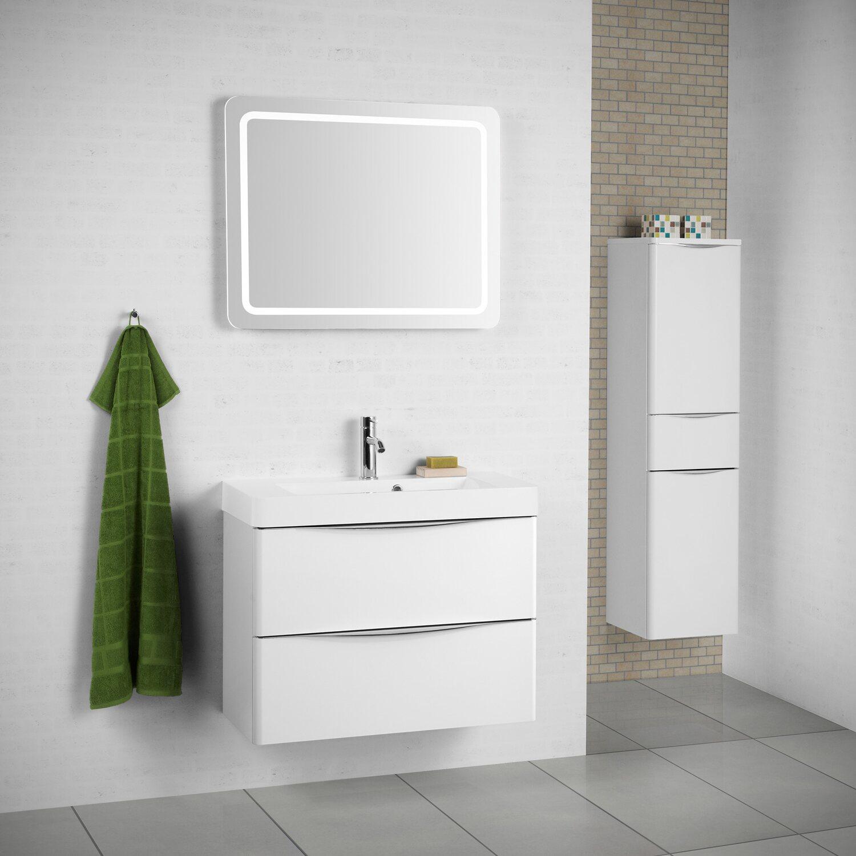 scanbad badm bel set 80 cm mit spiegel samba wei hochglanz 3 teilig kaufen bei obi. Black Bedroom Furniture Sets. Home Design Ideas