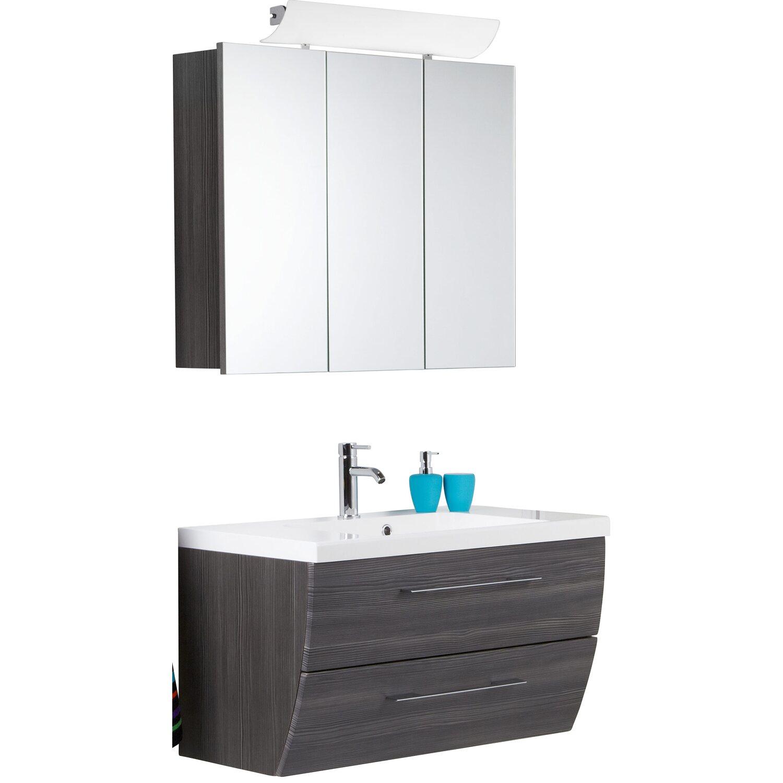 Scanbad Badmöbel-Set 90 cm mit Spiegelschrank Rumba Pine Grey 3 ...