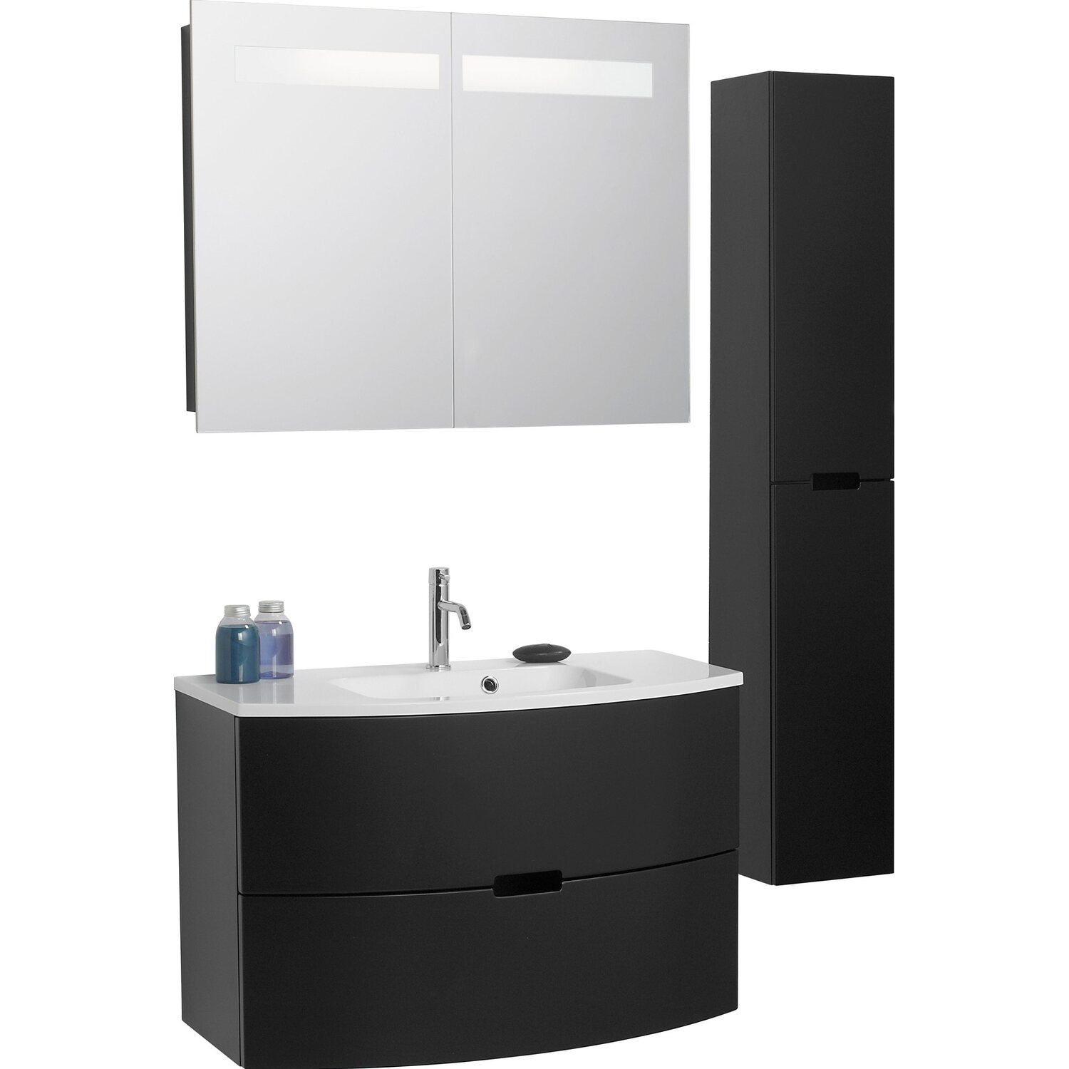 scanbad badm bel set 90 cm mit spiegelschrank modern schwarz matt 3 teilig kaufen bei obi. Black Bedroom Furniture Sets. Home Design Ideas