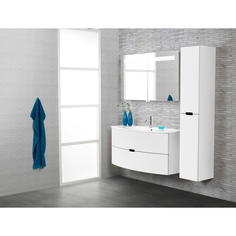 Scanbad Badmöbel-Set 90 cm mit Spiegelschrank Modern Weiß Hochglanz ...
