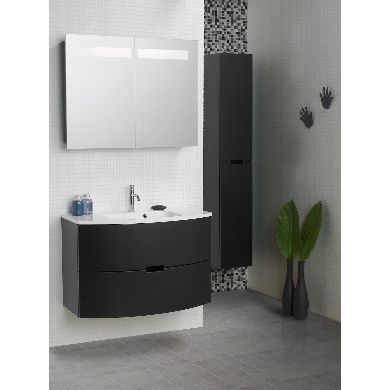 scanbad badm bel set 120 cm mit spiegelschrank 2 t rig modern schwarz matt kaufen bei obi. Black Bedroom Furniture Sets. Home Design Ideas