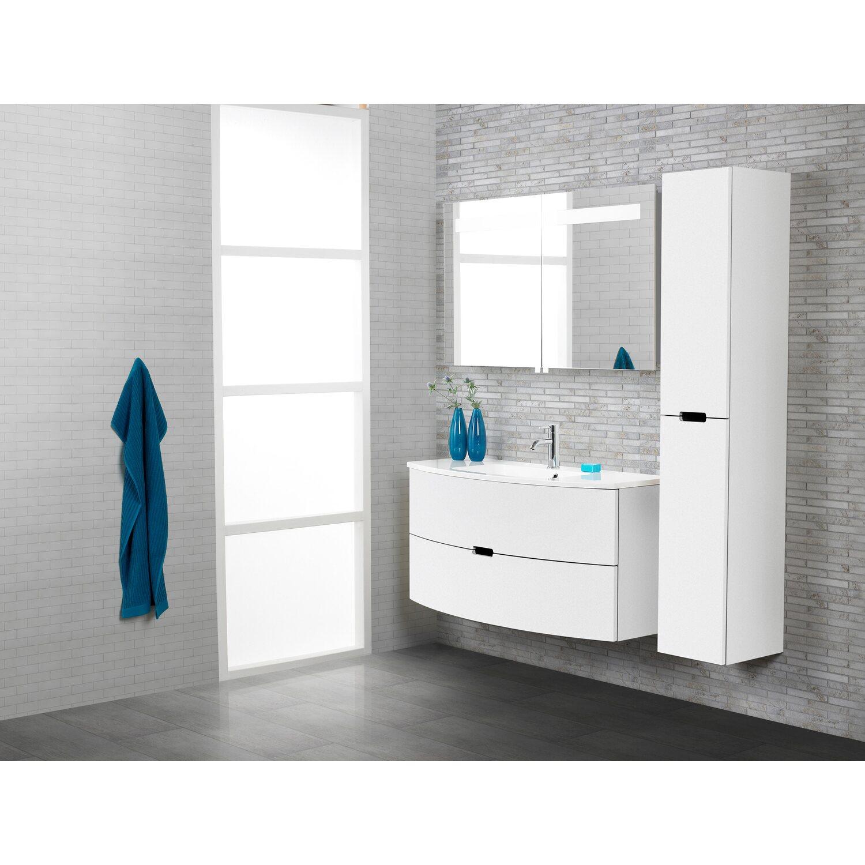 Scanbad Badmöbel-Set 120 cm mit Spiegelschrank 2-türig Modern Weiß ... | {Badmöbel weiss modern 36}