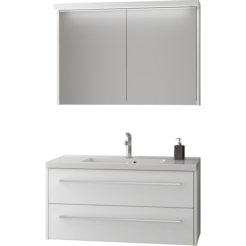 Scanbad Badmöbel-Set 100 cm mit Spiegelschrank Fox Weiß matt 3 ...