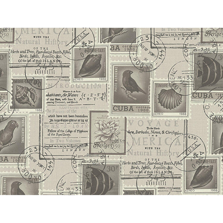 AS Creation A.S. Creation Papiertapete Dekora Natur Briefmarken Grau