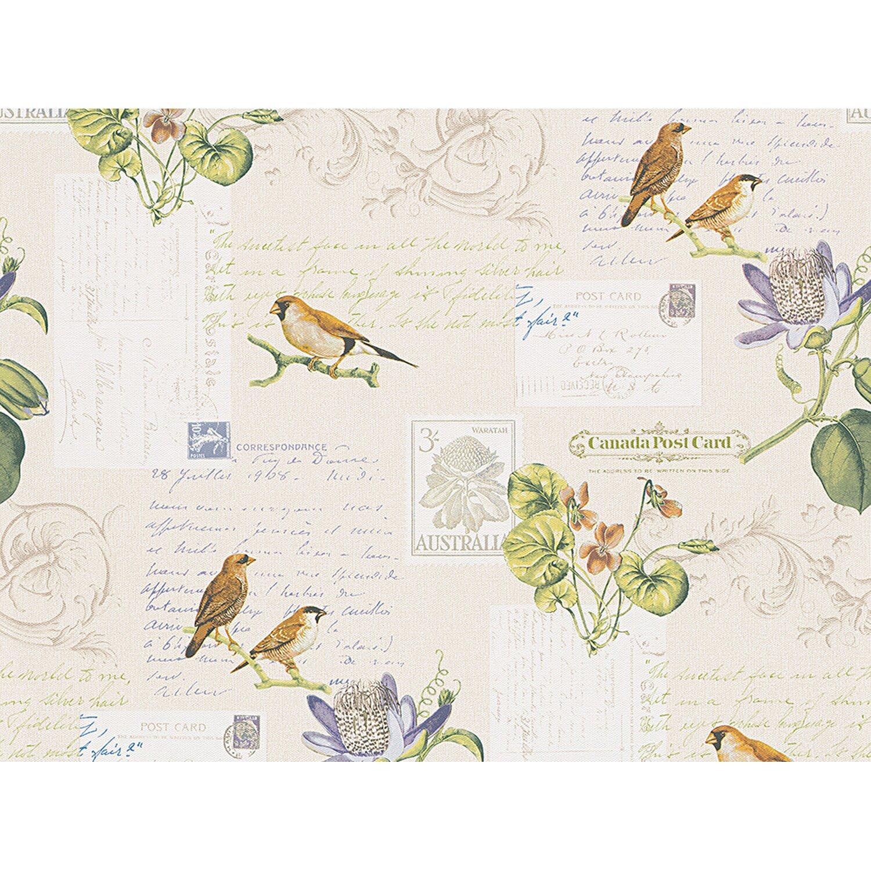 AS Creation A.S. Creation Papiertapete Dekora Natur Postkarte Vögel Bunt
