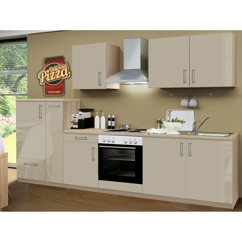 menke k chenzeile premium 300 cm sahara hochglanz sonoma eiche nachbildung kaufen bei obi. Black Bedroom Furniture Sets. Home Design Ideas