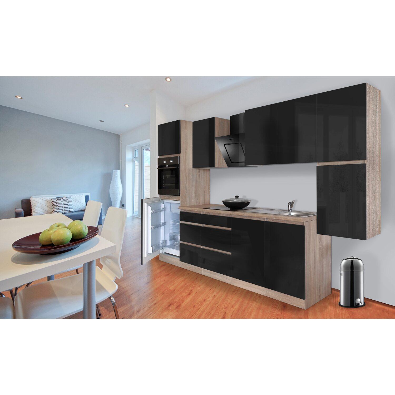 Respekta Küchenzeile GLRP320HESS Grifflos 320 Cm Schwarz Hochglanz Sonoma  Eiche