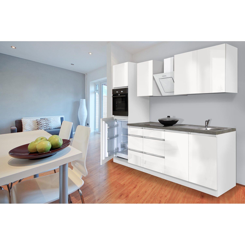 Hochwertig Respekta Küchenzeile GLRP270HWW Grifflos 270 Cm Weiß Hochglanz