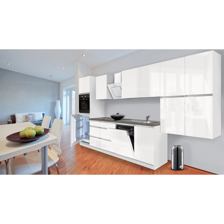 respekta k chenzeile ohne e ger te 380 cm wei hochglanz kaufen bei obi. Black Bedroom Furniture Sets. Home Design Ideas