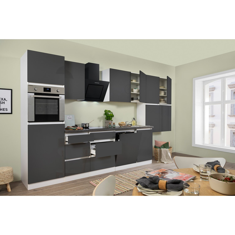 Respekta Küchenzeile GLRP380HWG Grifflos 380 cm Grau Hochglanz ...