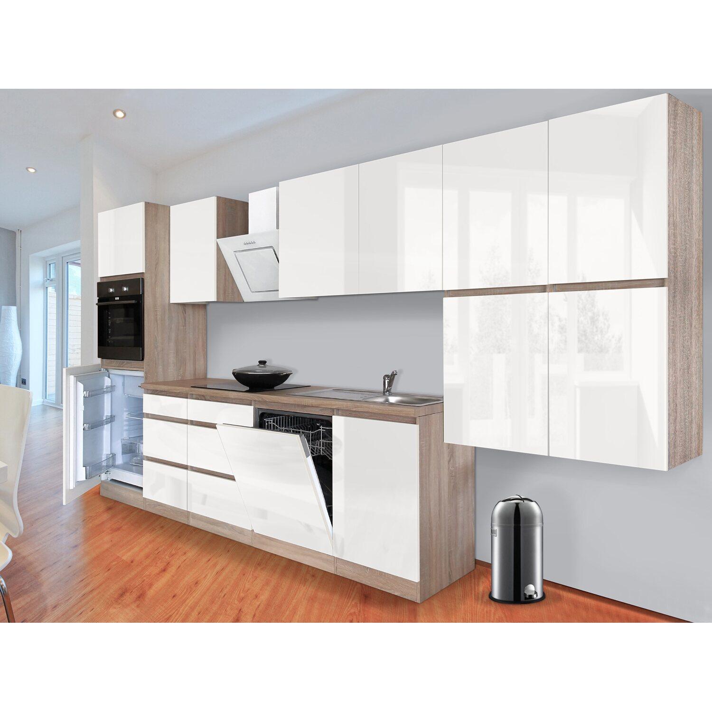 respekta k chenzeile glrp380hesw grifflos 380 cm wei hochglanz sonoma eiche kaufen bei obi. Black Bedroom Furniture Sets. Home Design Ideas