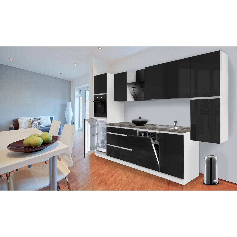 respekta k chenzeile ohne e ger te 330 cm schwarz hochglanz wei kaufen bei obi. Black Bedroom Furniture Sets. Home Design Ideas