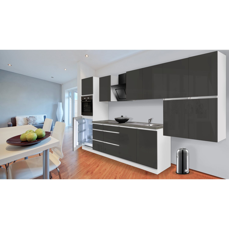 respekta k chenzeile ohne e ger te 370 cm grau hochglanz wei kaufen bei obi. Black Bedroom Furniture Sets. Home Design Ideas