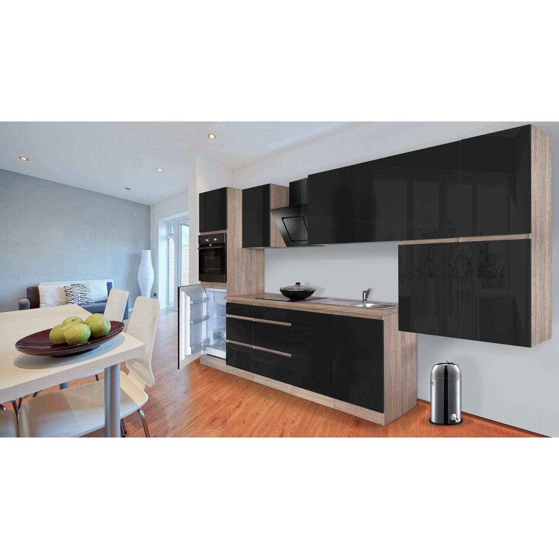 respekta k chenzeile ohne e ger te 370 cm schwarz hochglanz eiche s gerau nachb kaufen bei obi. Black Bedroom Furniture Sets. Home Design Ideas