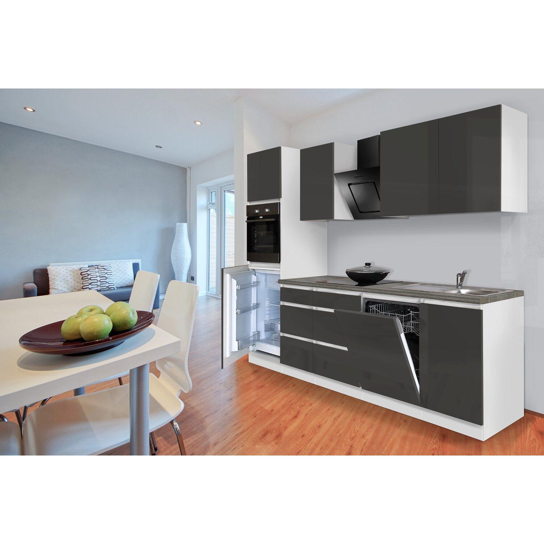 Respekta Küchenzeile ohne E-Geräte 280 cm Grau Hochglanz-Weiß kaufen ...