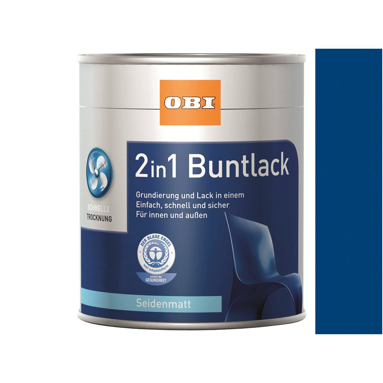 OBI  2in1 Buntlack Enzianblau seidenmatt 125 ml